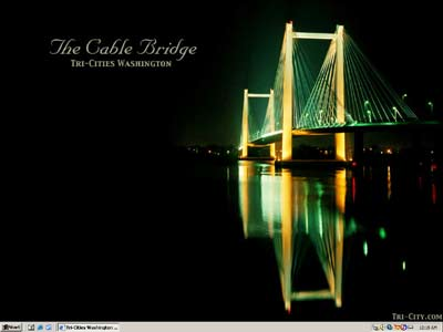 Tri-Cities Washington Cable Bridge Wallpaper Preview